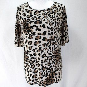 Susan Graver Animal Print Top Short Open Sleeve M